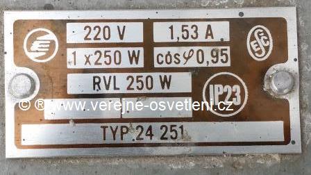 Elektrosvit typ.24 251 1x250W RVL